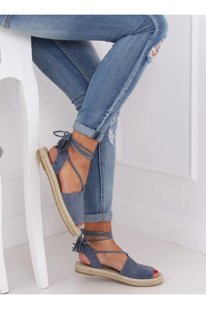 Dámske sandále modré na plochom podpätku BB25