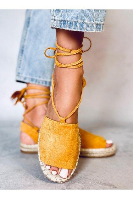 Dámske sandále s plochou podrážkou žlté na plochom podpätku BB25