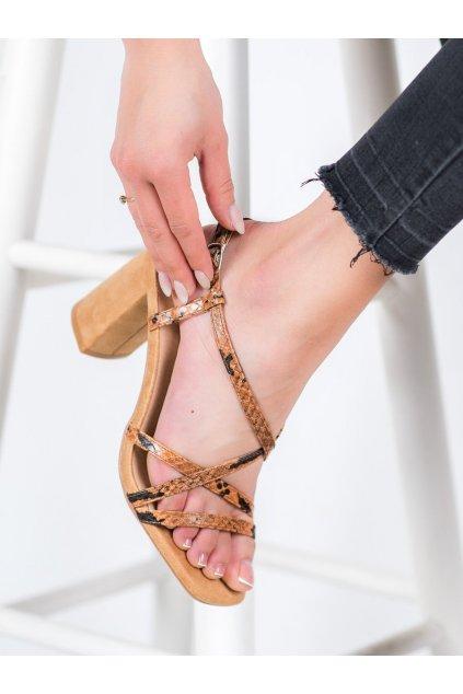 Hnedé sandále na podpätku Kylie kod K2012502TA