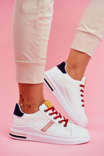 Dámske tenisky farba biela kód obuvi B0-227 WHITE/YELLOW