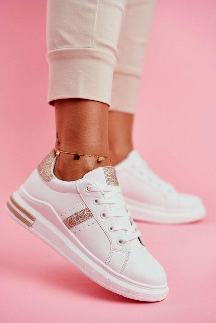 Dámska športová obuv biele a zlaté Narval