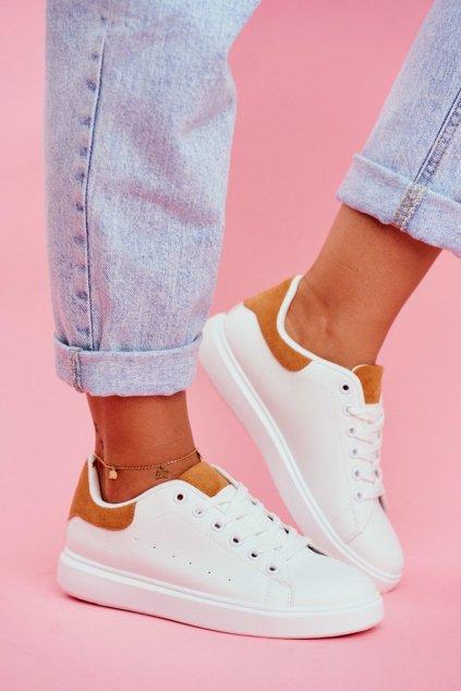 Dámske tenisky farba biela kód obuvi LA85 CAMEL