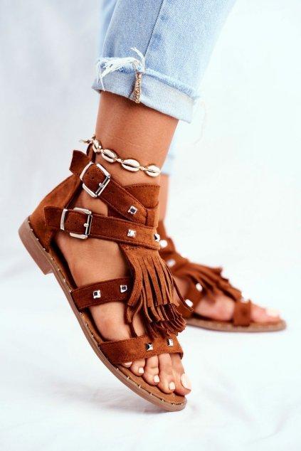 Dámske ploché sandále farba hnedá kód obuvi 100-150SA CAMEL