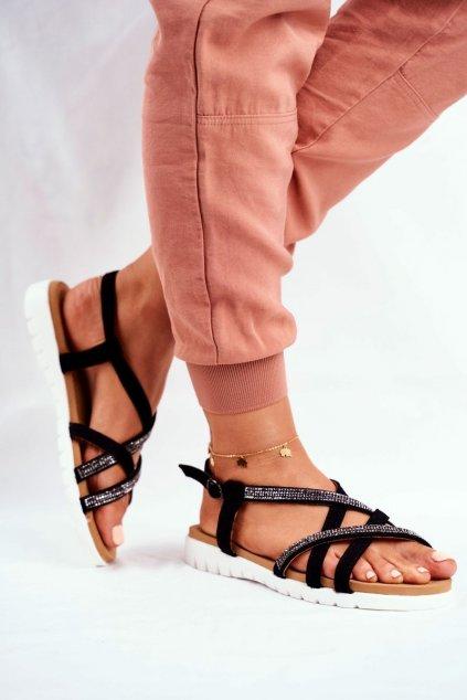 Dámske ploché sandále farba čierna kód obuvi 406-6 BLK