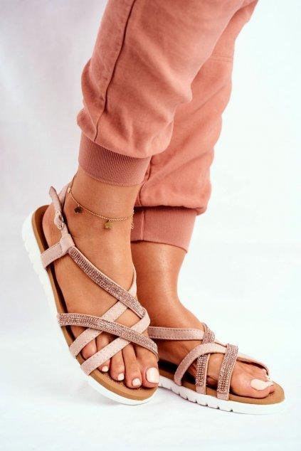 Dámske sandále s plochou podrážkou farba ružová kód obuvi 406-6 CHAMPAGNE