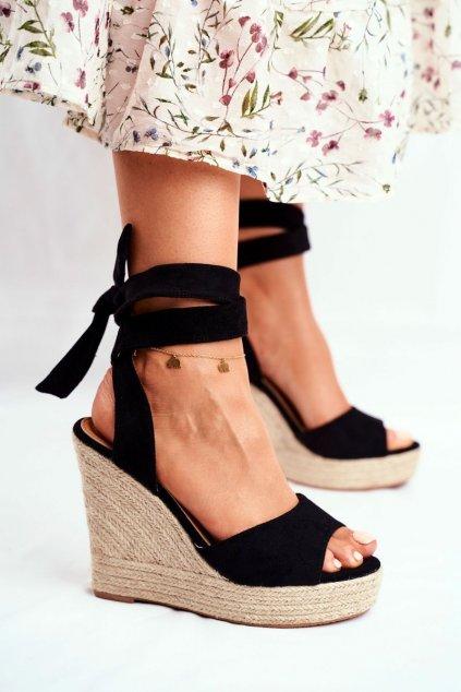 Dámske Sandále na platforme Šnerované čierne Belleza
