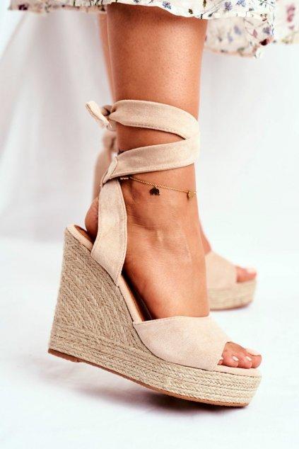 Dámske Sandále na platforme Šnerované Béžové Belleza