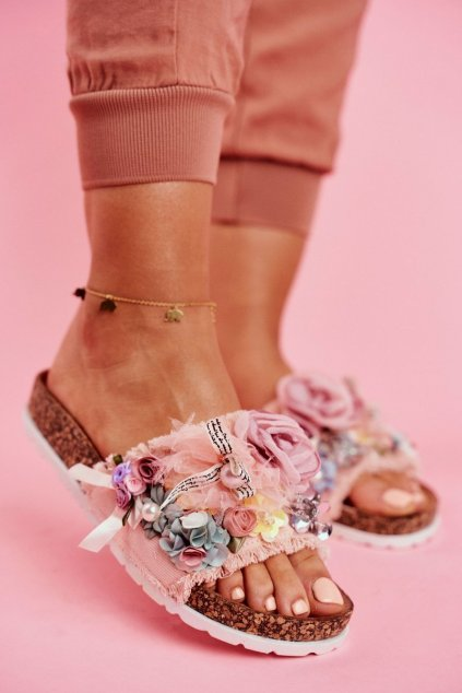 Dámske šľapky s Kvetinami ružové Enrissa