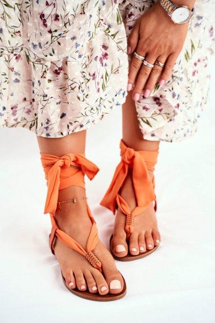 Dámske sandále s plochou podrážkou farba oranžová kód obuvi P-1081 ORANGE