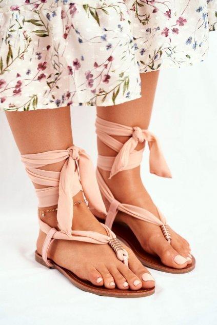 Dámske ploché sandále farba hnedá kód obuvi P-1081 BEIGE