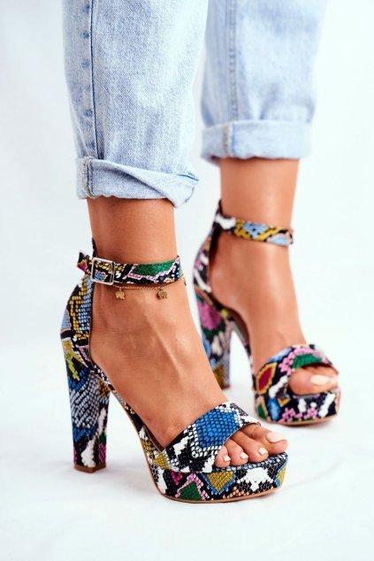 Dámske Sandále na podpätku Barevné hadia Figaro