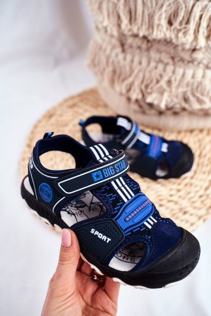 Detské sandále farba modrá kód obuvi FF374211 NAVY