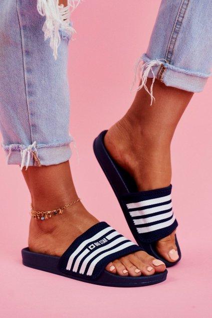 Dámske šľapky farba modrá kód obuvi FF274A356 NAVY