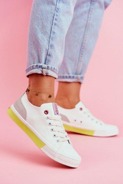 Dámske tenisky farba biela kód obuvi FF2R4042C WHITE/YELLOW