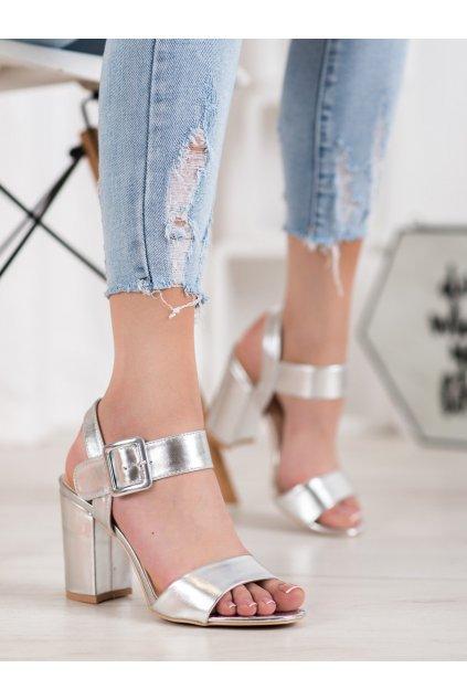 Sivé sandále na podpätku Small swan kod S1765S