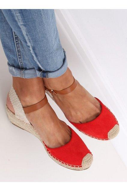 Dámske sandále červené na platforme S-820
