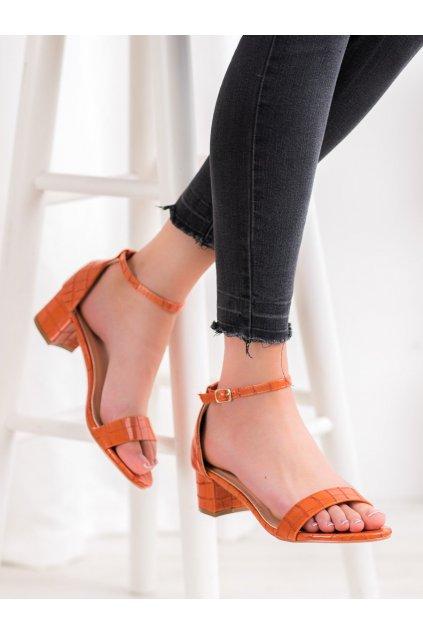 Oranžové sandále na podpätku Small swan kod YC-151OR