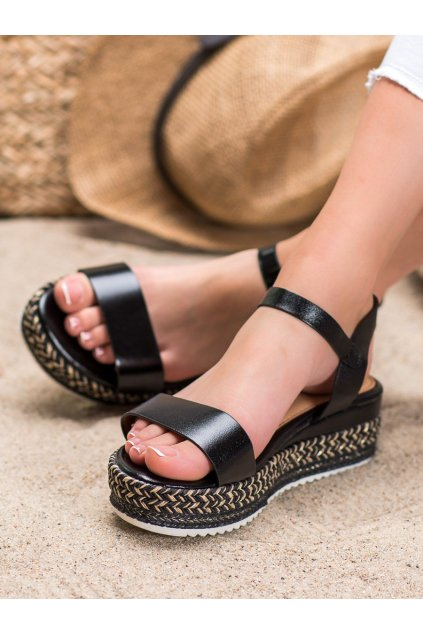 Čierne sandále na platforme Weide kod Y610B