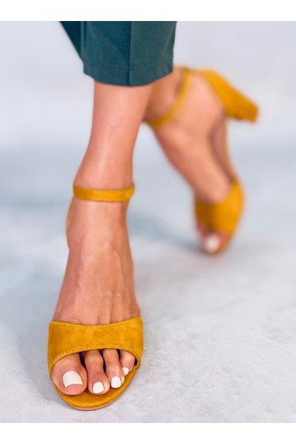 Damske sandále žlté na stĺpovom podpätku 88-395