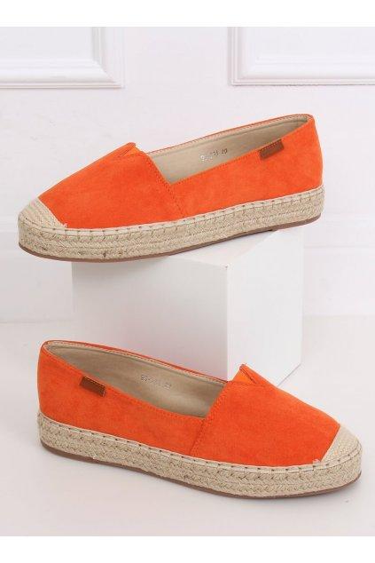 Dámske sandále oranžové na plochom podpätku 99-23A