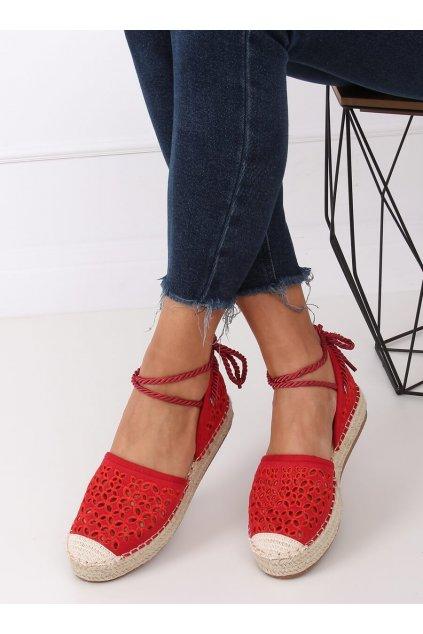 Dámske sandále červené na plochom podpätku G1573