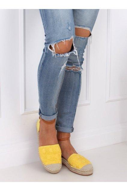 Dámske sandále žlté na plochom podpätku 3035