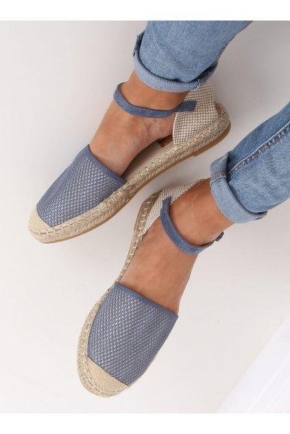 Dámske sandále modré na plochom podpätku MB-64119