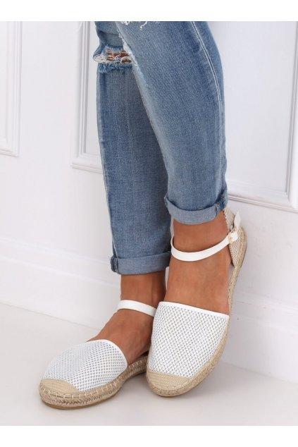 Dámske sandále biele na plochom podpätku MB-64119
