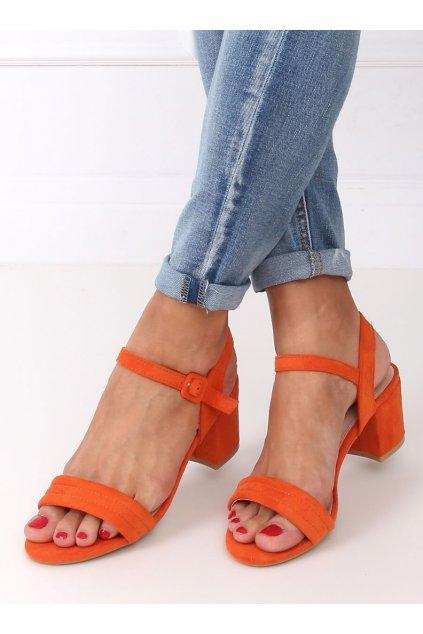 Damske sandále oranžové na stĺpovom podpätku 99-61A