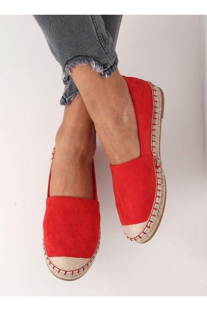 Dámske sandále červené na plochom podpätku L-1068