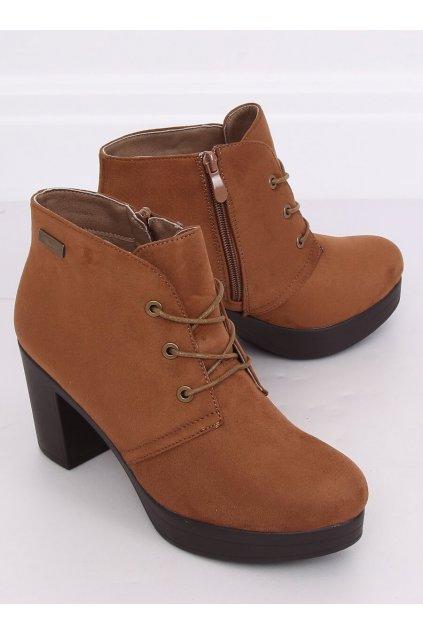 Dámske členkové topánky hnedé na širokom podpätku NJSK 8B883