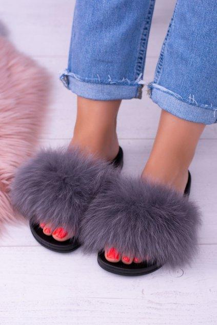 Papuče pre ženy s prírodnou kožou sivé Naturis NJSK 870