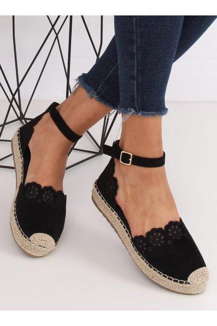 Dámske sandále čierne na plochom podpätku NJSK JH119