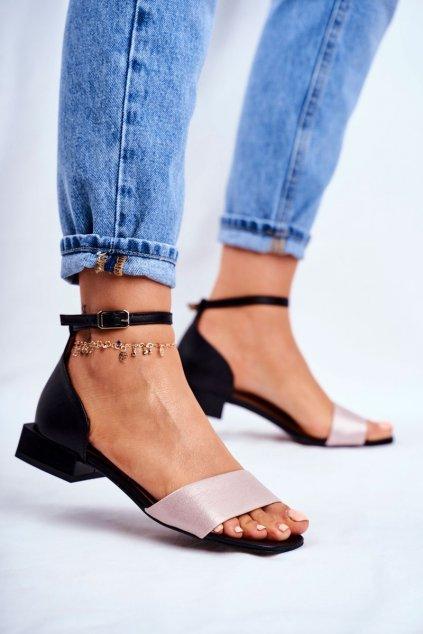 Dámske ploché sandále farba čierna kód obuvi 04618-21/00-5 CZARNY+RÓŻ BŁYSZCZĄCY