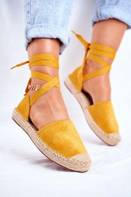 Dámske espadrilky farba žltá kód obuvi LL-230P YELLOW