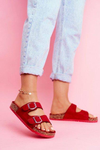 Dámske šľapky farba červená kód obuvi 20SD21-1732 RED