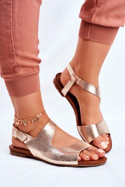 Dámske ploché sandále farba žltá kód obuvi 1116 GOLD 260