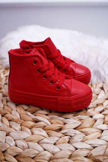 Detské červené tenisky zateplené vysoké Filemon NJSK 80091-2B