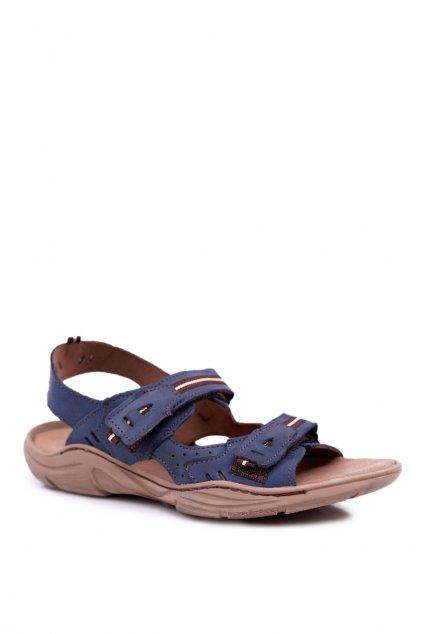 Športové kožené sandále Black 448 NAVY
