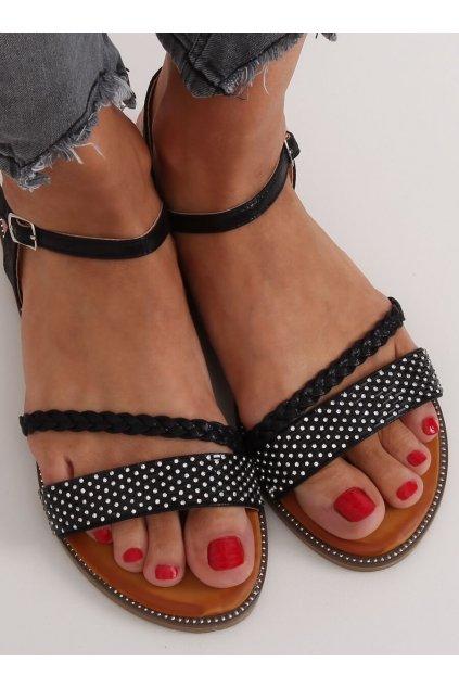 Dámske sandále čierne na plochom podpätku 620-62