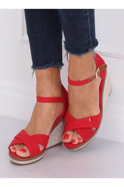 Damske sandále červené na platforme R133P