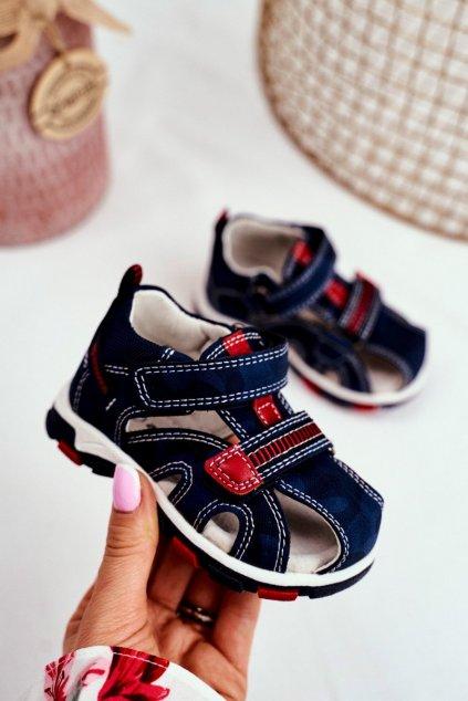 Detské sandále farba modrá kód obuvi JX18 RED