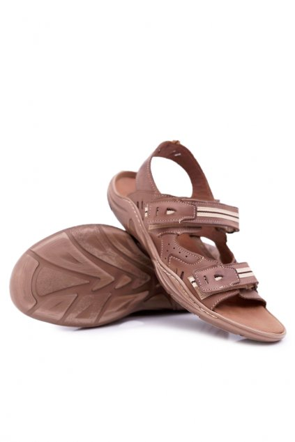 Športové kožené sandále Black NJSK 448 Brown