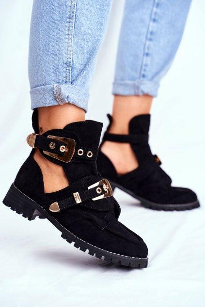 Členkové topánky na podpätku farba čierna kód obuvi XW37266 BLK SUEDE GOLD