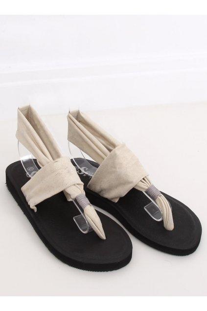 Dámske sandále béžové na plochom podpätku NJSK DD82P