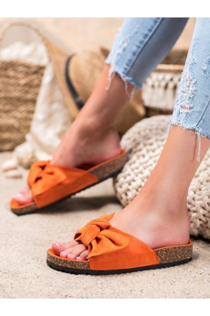 Oranžové šľapky Renda kod 10-218OR