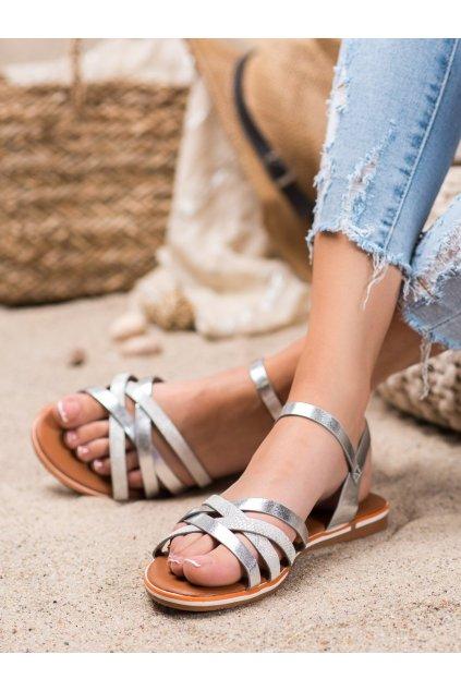 Sivé sandále s plochou podrážkou Nio nio kod 99-62-S
