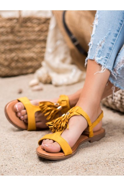 Žlté sandále s plochou podrážkou Renda kod 222-30Y