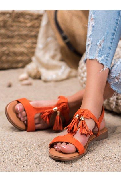 Oranžové sandále s plochou podrážkou Renda kod 222-30OR