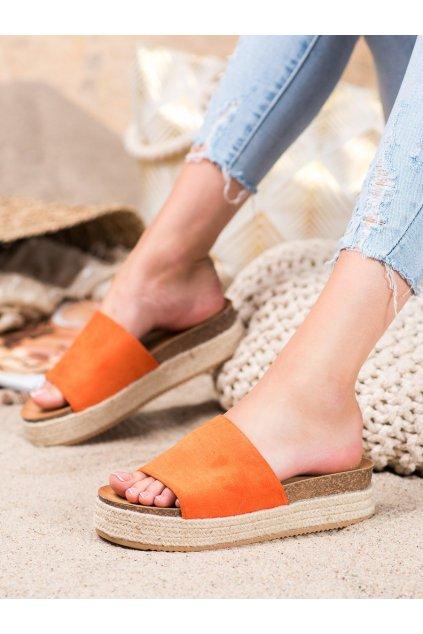 Oranžové šľapky Renda kod 10-215OR